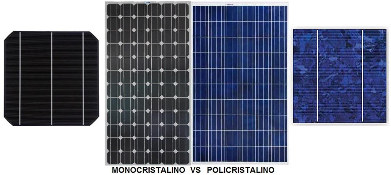 Diferenças visuais entre célula fotovoltaica monocristalina e policristalina