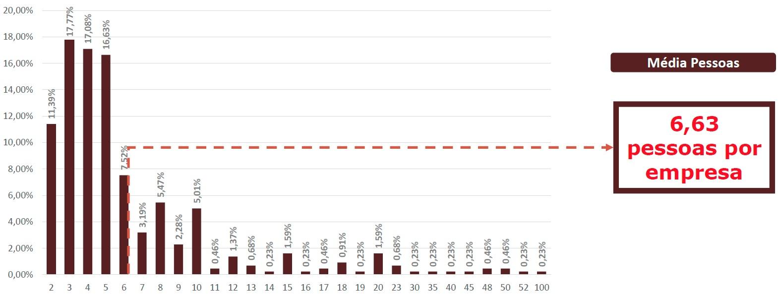 Energia solar no Brasil - Quantidade de pessoas que atuam em energia solar por empresa